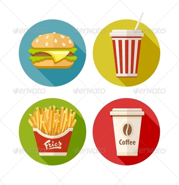 Set of Fast Food Flat Icons  - Miscellaneous Vectors