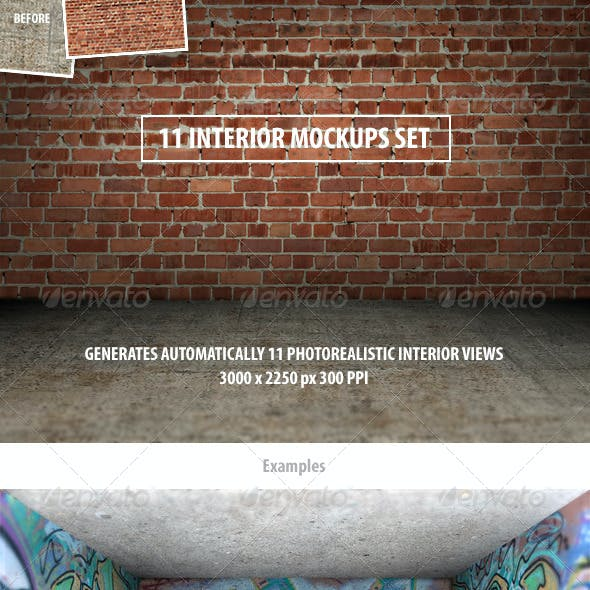 11 Interior Mockups Set
