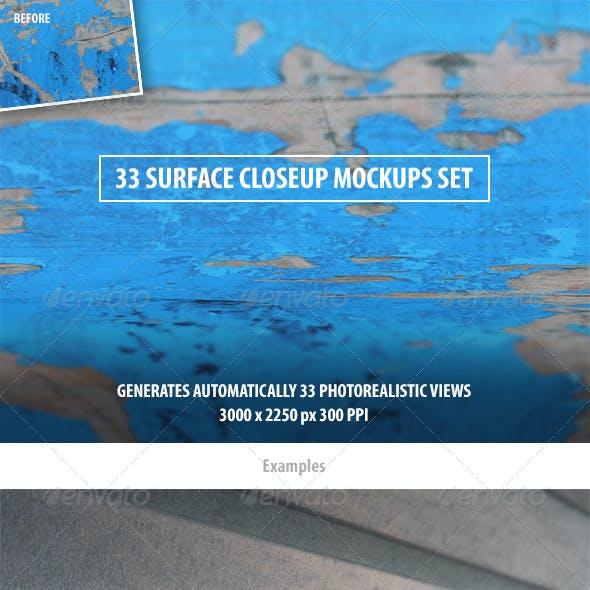 33 Surface Closeup Mockups Set