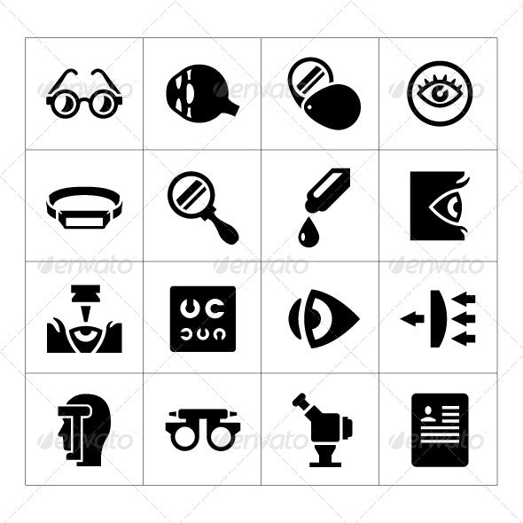 Set Icons of Ophthalmology and Optometry - Man-made objects Objects