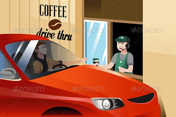 Barista Serving Customer - People Characters