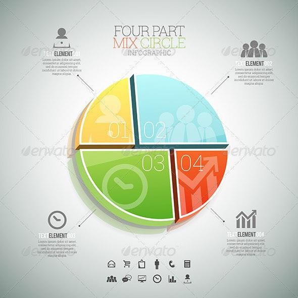 Four Part Mix Circle Infographic - Infographics