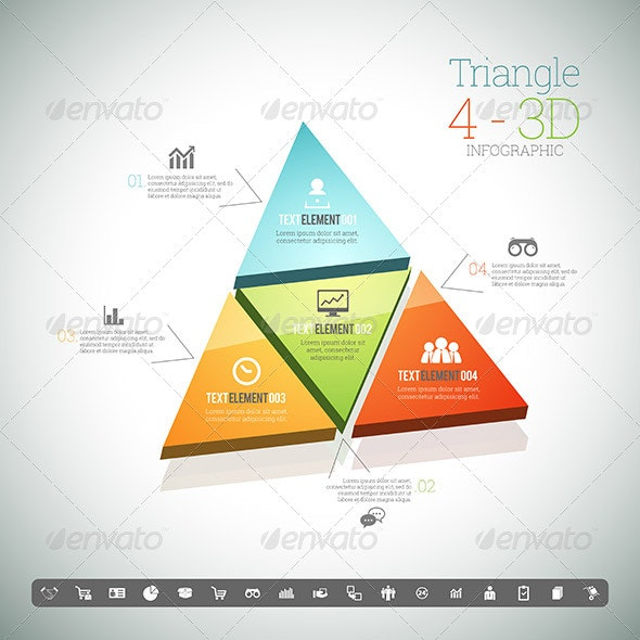 Triangle Four 3D Infographic - Infographics