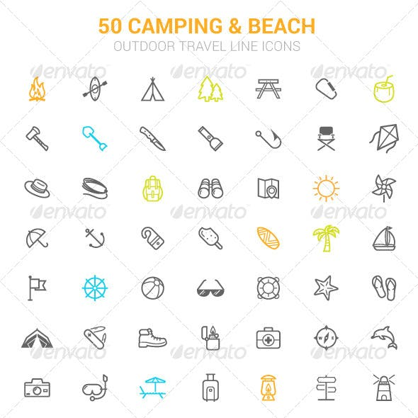 50 Outline Stroke Beach and Camping Icons