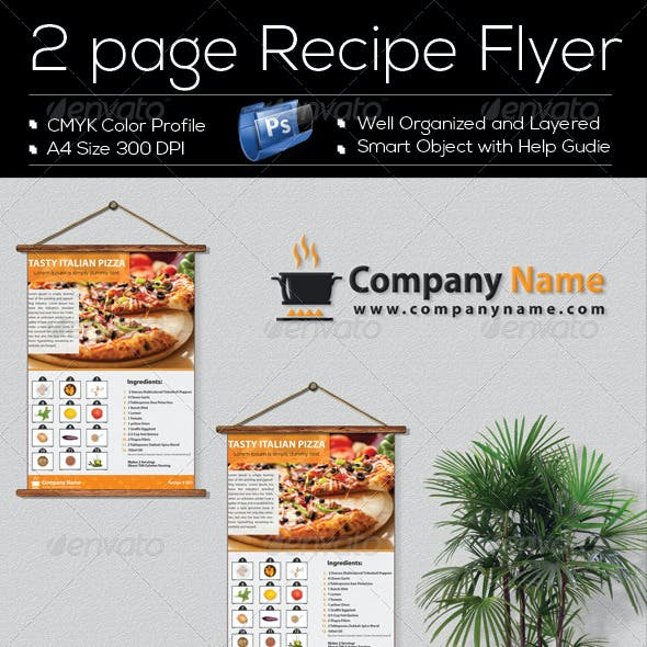 2 Page 'Recipe Flyer' Template Design