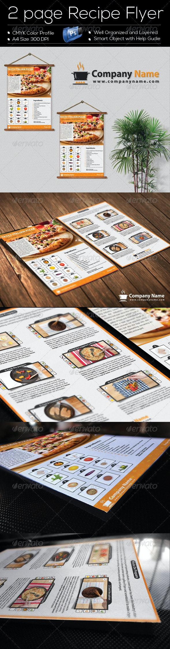 2 Page 'Recipe Flyer' Template Design - Restaurant Flyers