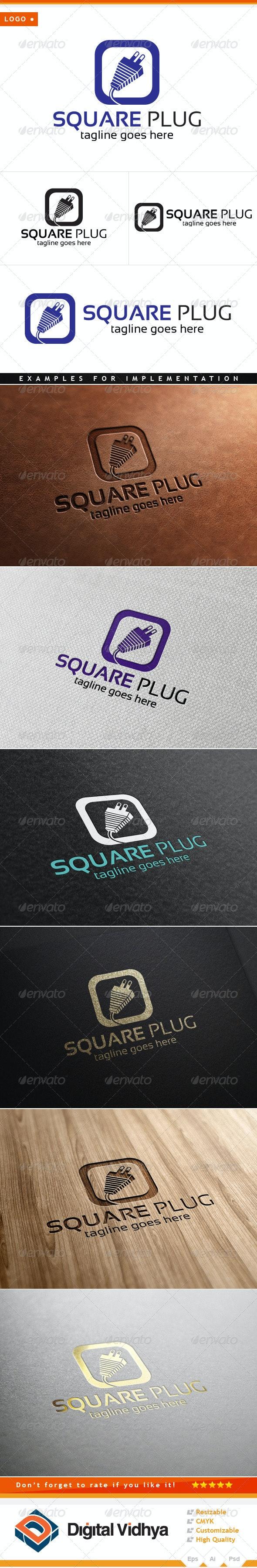 Square & Plug Logo - Symbols Logo Templates