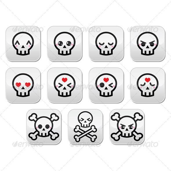 Kawaii Halloween Skull Buttons Set - Miscellaneous Characters