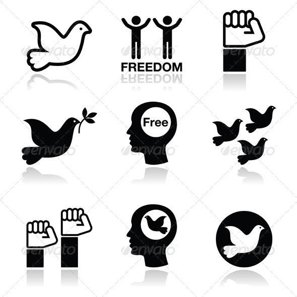 Freedom Icons Set Dove and Fist Symbols - Conceptual Vectors