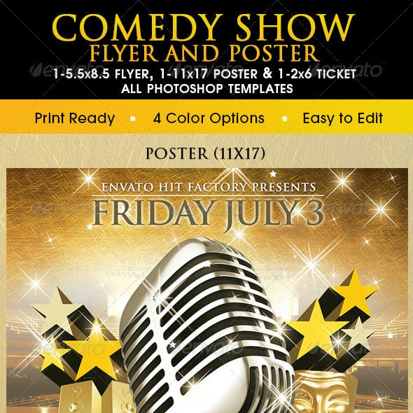 Comedy Show Poster, Flyer & Ticket