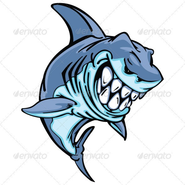 Shark Mascot Cartoon Vector Image - Animals Characters