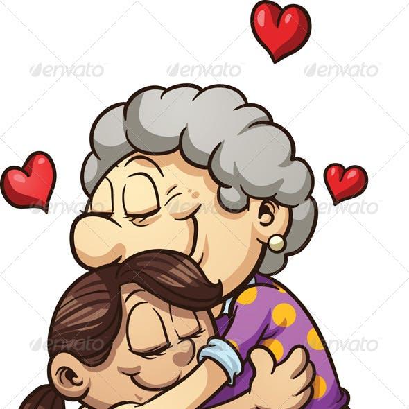 Girl Hugging Grandma