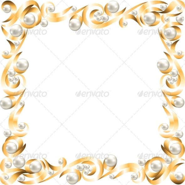 Golden jewelry frame - Borders Decorative