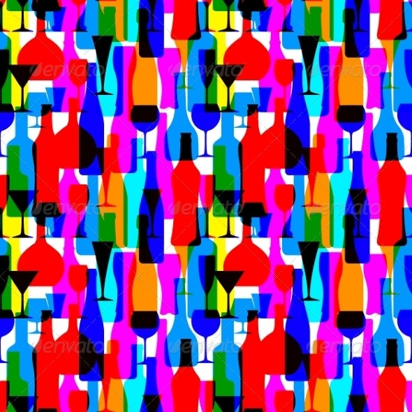 Seamless Background with Colorful Bottles - Patterns Decorative
