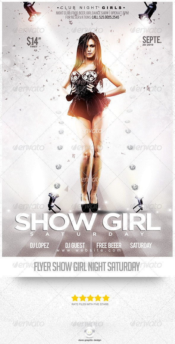 Flyer Show Night Girl Saturday - Clubs & Parties Events