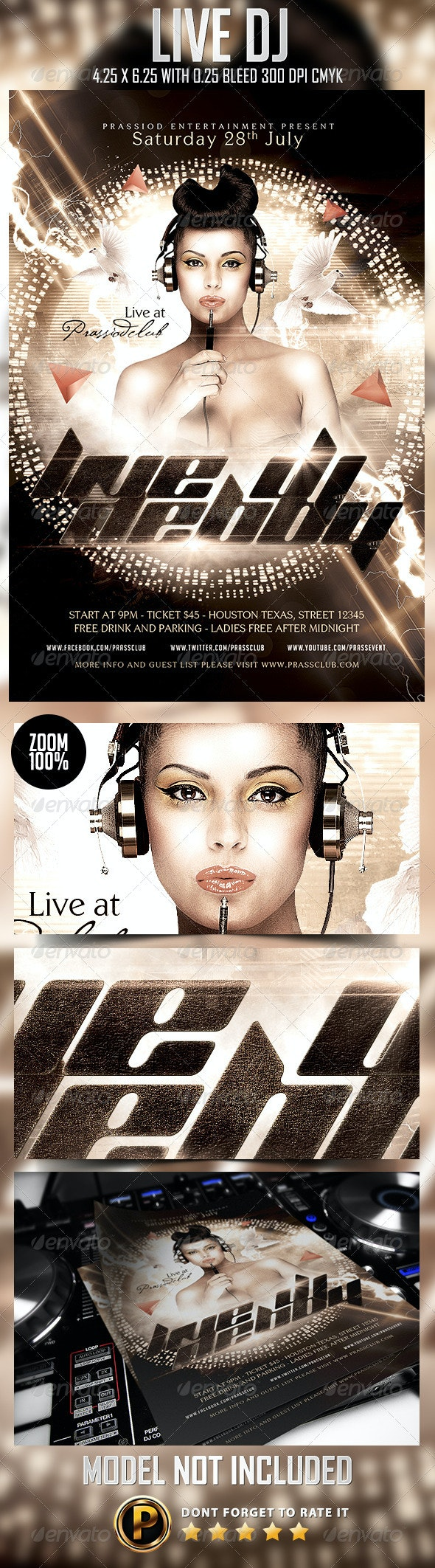 Live DJ Flyer Template - Clubs & Parties Events