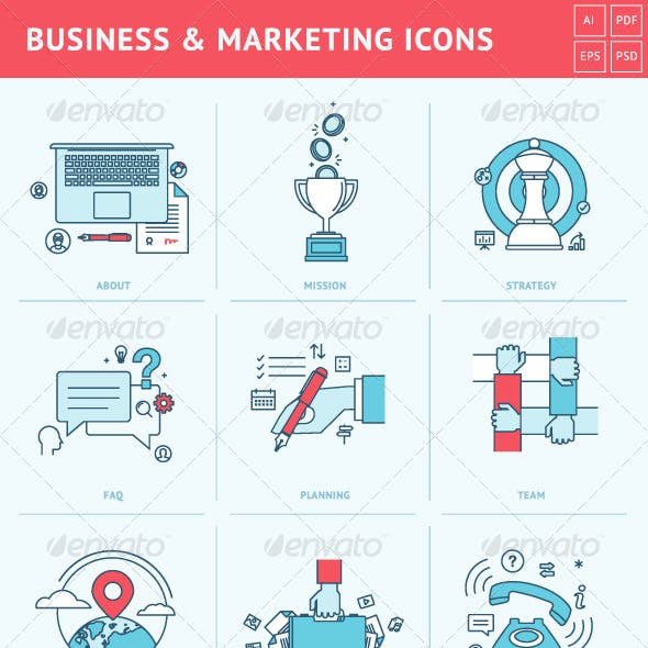 Flat Line Icons for Business and Marketing