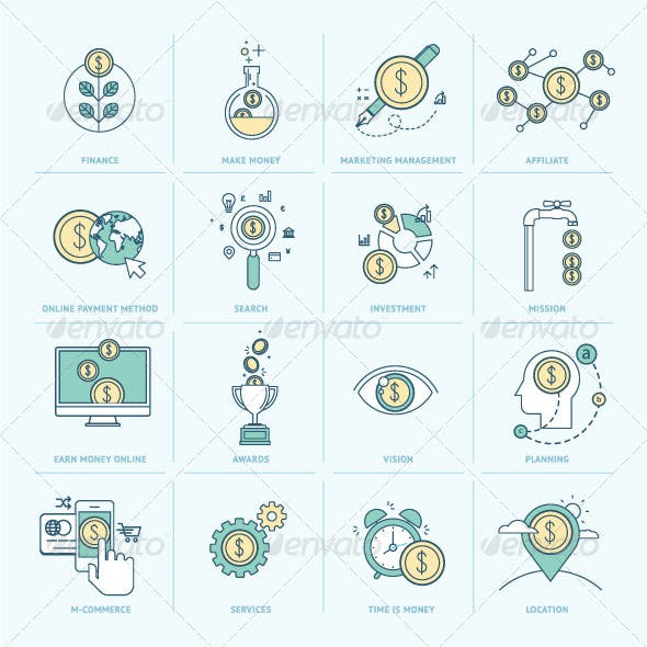 Flat Line Icons for Finance