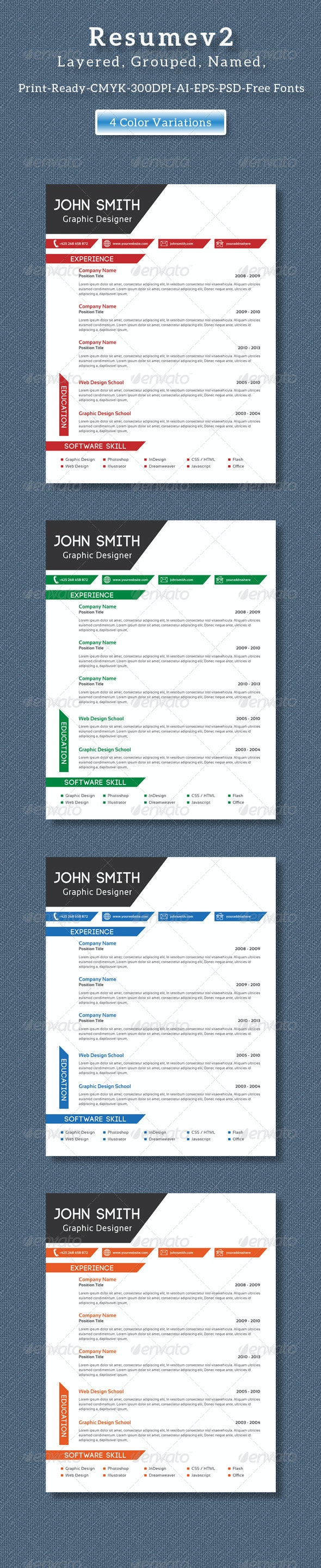 Clean Creative Resume V2 - Resumes Stationery