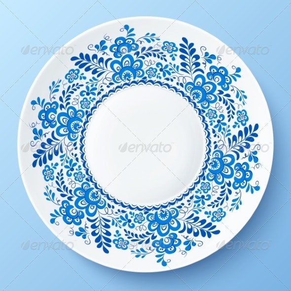 Blue Plate with Floral Ornament in Gzhel Style - Borders Decorative