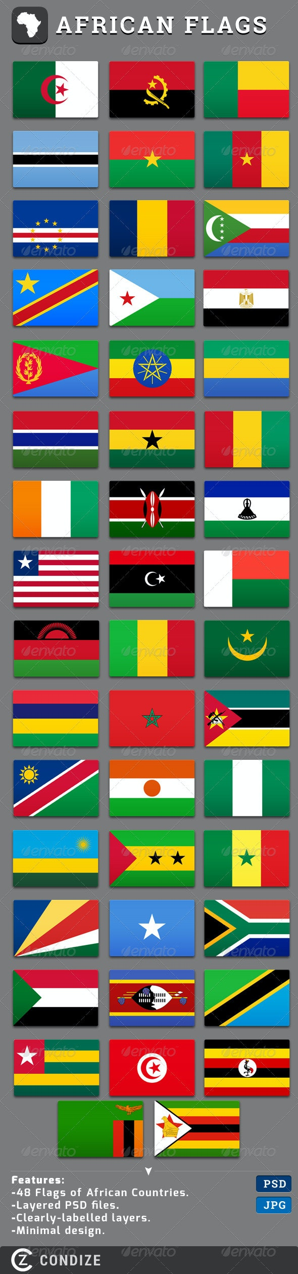 African Flags Set - Miscellaneous Illustrations