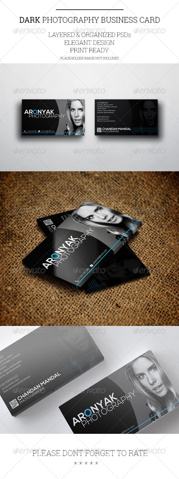 Dark Photography Business Card Template - Industry Specific Business Cards