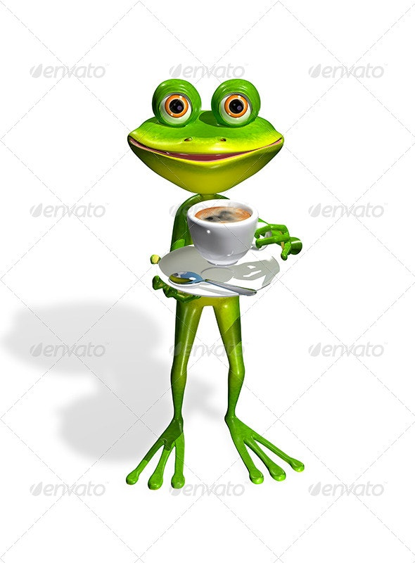 Frog with a Cup of Coffee - Characters 3D Renders
