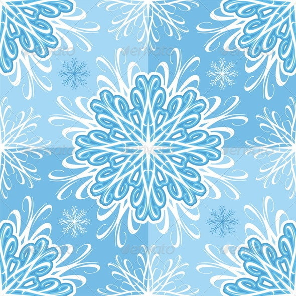 Seamless Vector Pattern With Snowflakes. - Backgrounds Decorative
