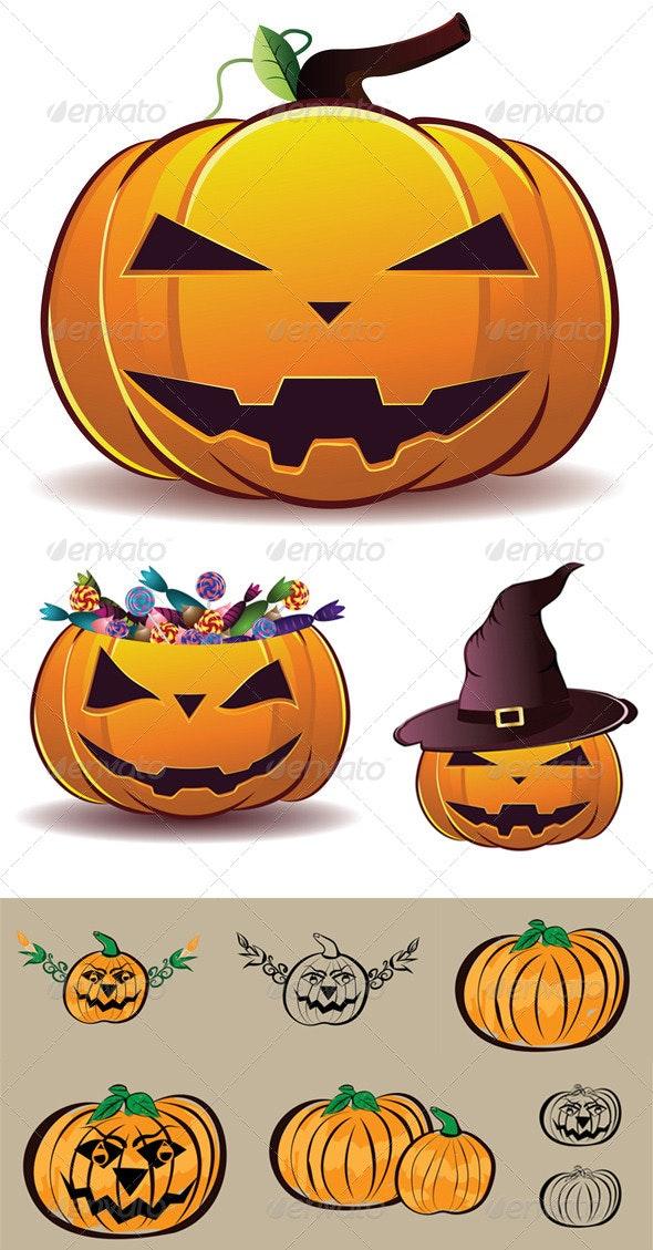 Halloween Pumpkin Illustration - Halloween Seasons/Holidays