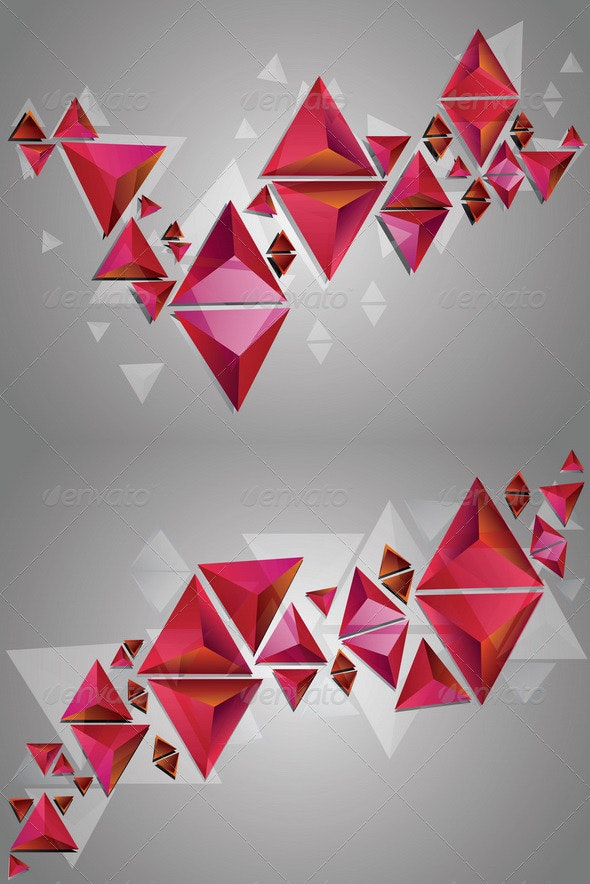 Red 3D Triangles - Miscellaneous Vectors
