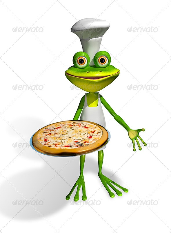 Frog Chef With Pizza - Characters 3D Renders