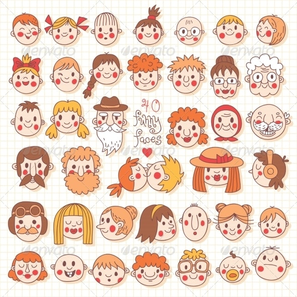 Funny Faces - People Characters
