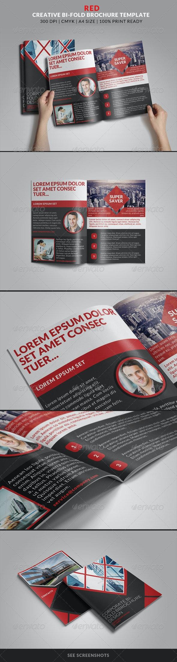 Red Creative Bi-Fold Brochure Template - Creative Business Cards