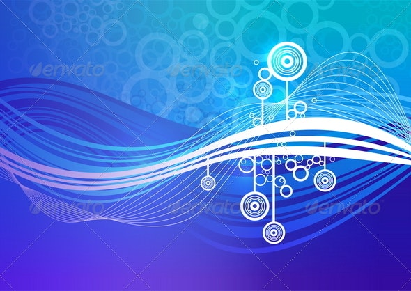 Abstract Background With Blue and White Waves - Abstract Conceptual