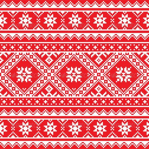 Ukrainian, Slavic Folk Art Knitted Red and White