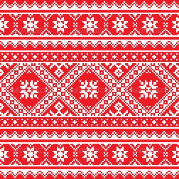 Ukrainian, Slavic Folk Art Knitted Red and White - Patterns Decorative