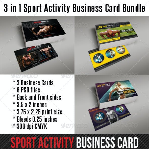3 in 1 Sport Activity Business Card Bundle 01