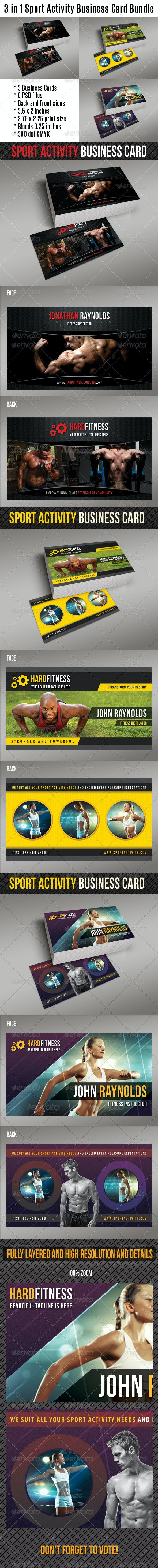 3 in 1 Sport Activity Business Card Bundle 01 - Creative Business Cards