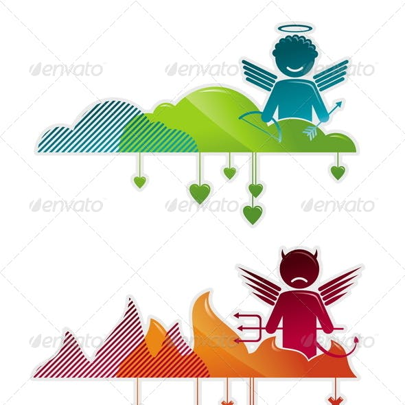 Vector Illustration with Angel and Devil