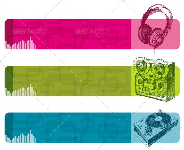 Banners with Hand Drawn Musical Equipment - Technology Conceptual