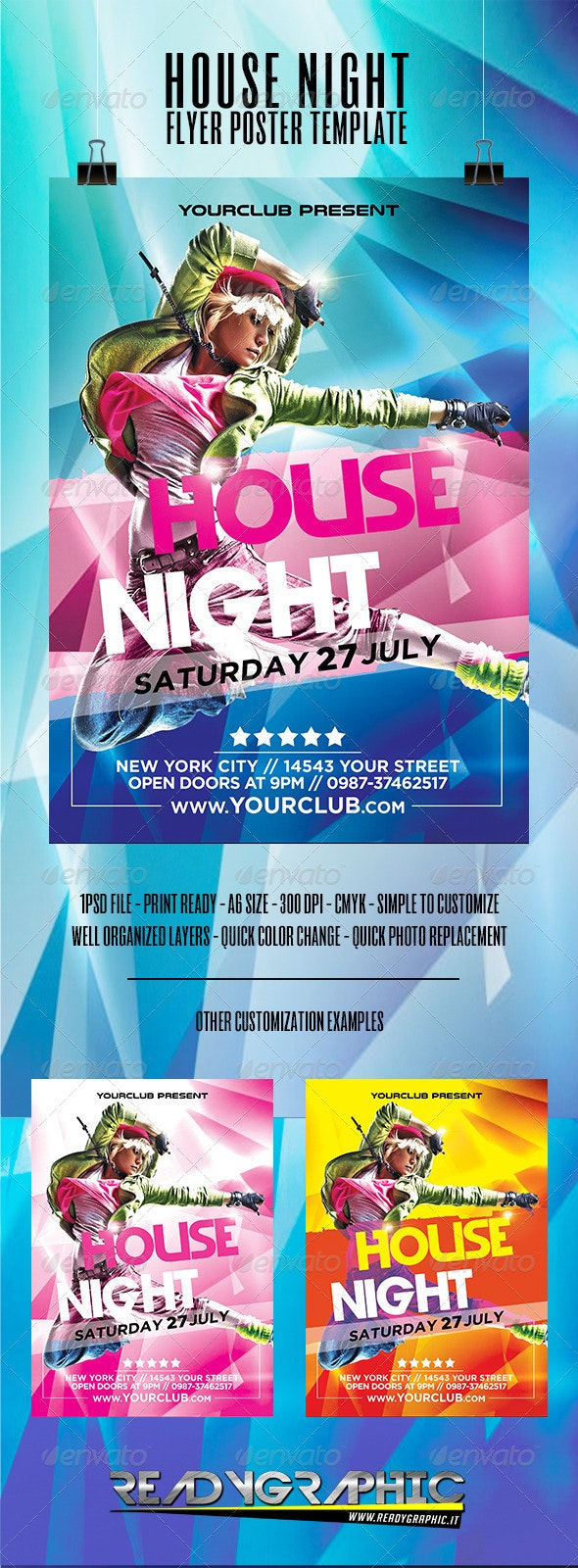 House Night Flyer Poster Template - Clubs & Parties Events