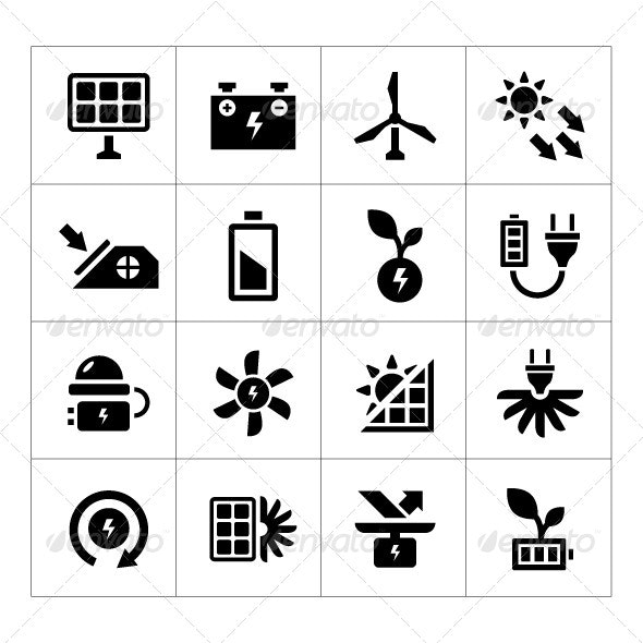 Set Icons of Alternative Energy Sources - Technology Icons