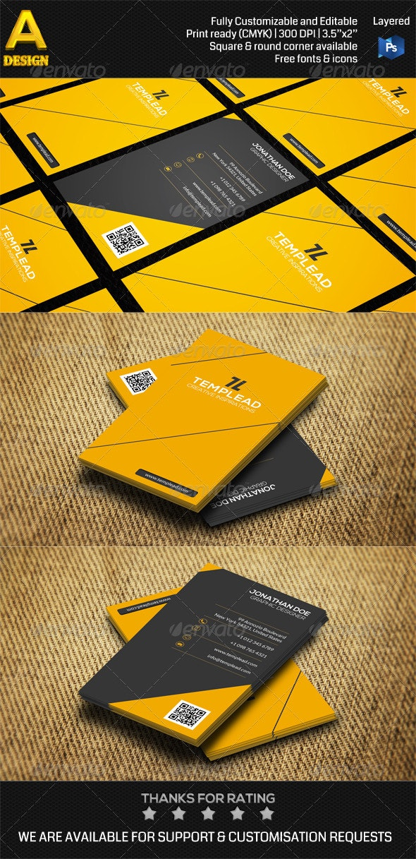 Orange Corporate Business Card AN0448 - Corporate Business Cards