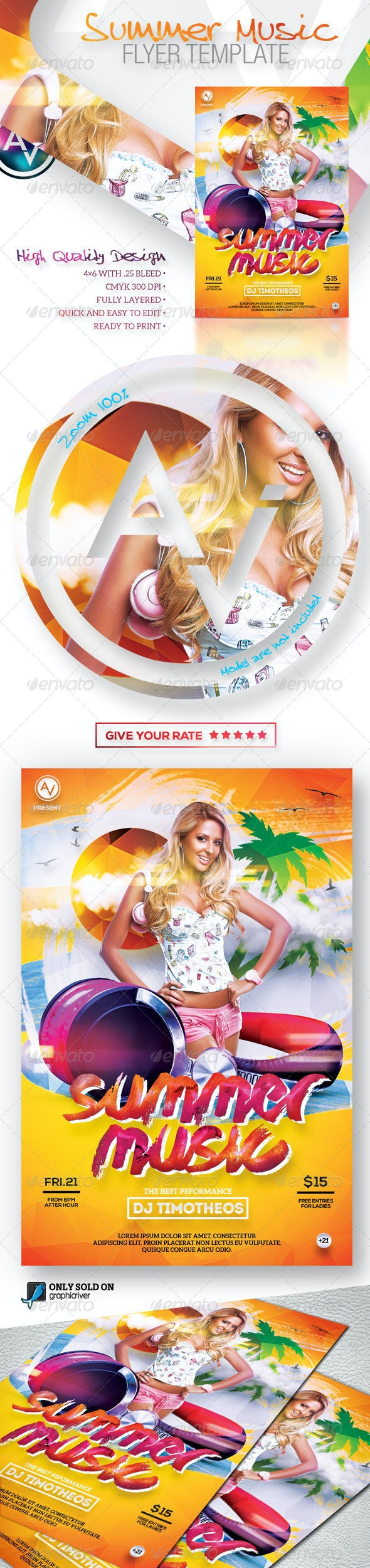 Summer Music Flyer Template - Clubs & Parties Events