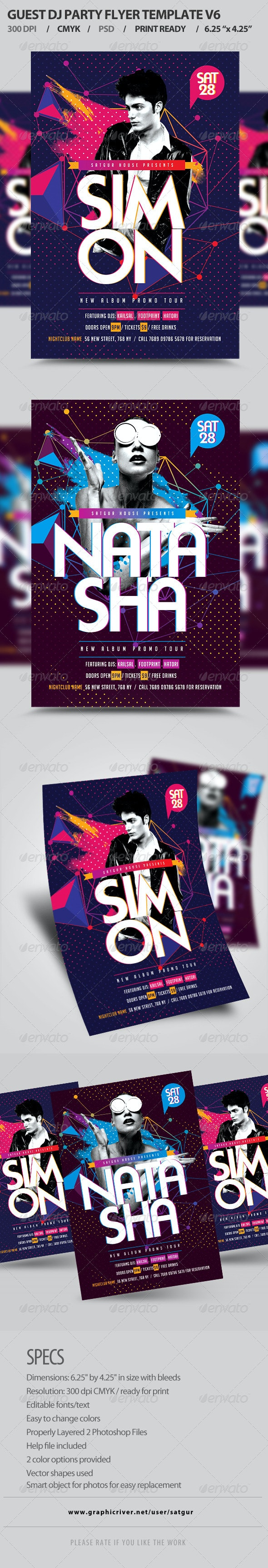 Guest DJ Party Flyer Template PSD V6 - Clubs & Parties Events