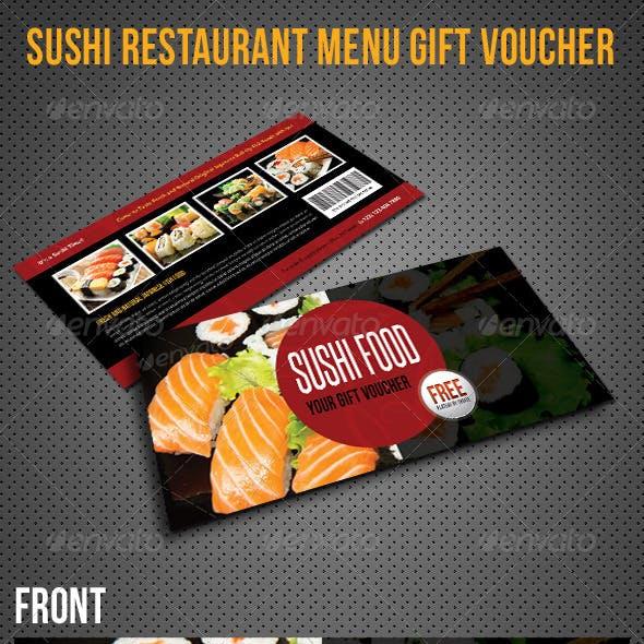 Sushi Restaurant Menu Gift Voucher V23