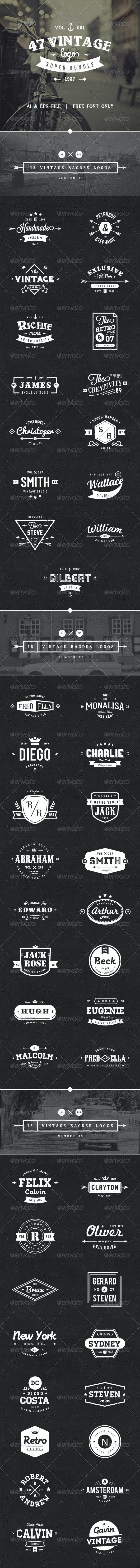 47 Vintage Logos Bundle - Badges & Stickers Web Elements