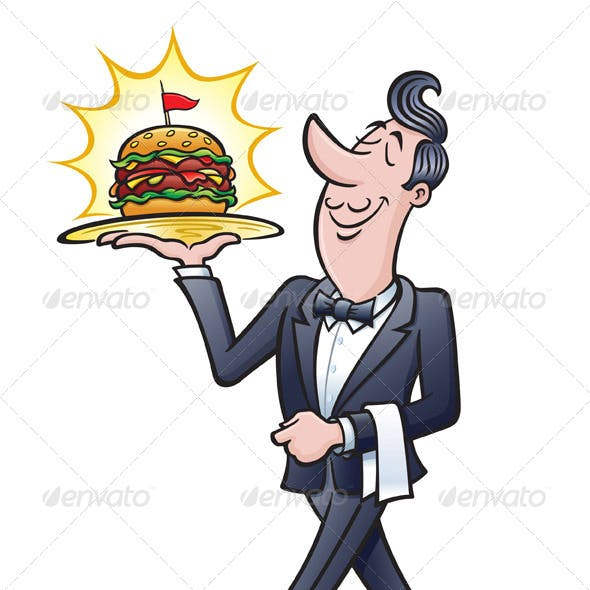 Waiter Carrying A Burger