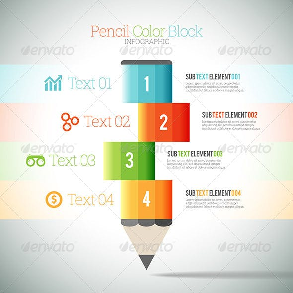 Pencil Color Block Infographic