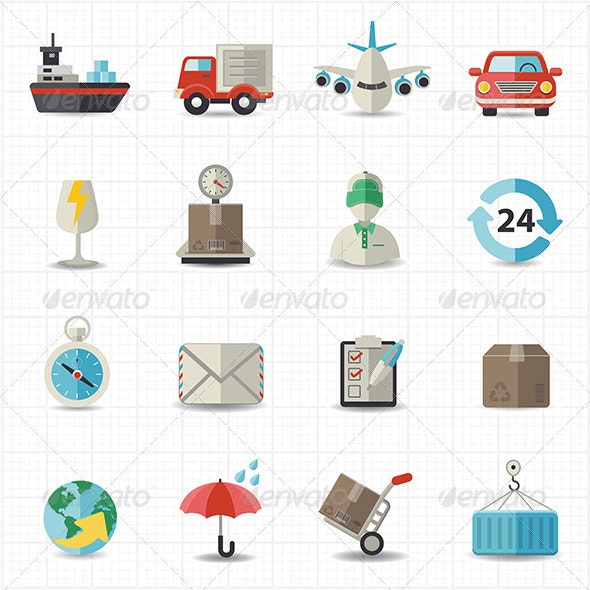 Logistic Shipping and Transportation Icons - Business Icons